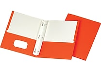 Staples School Grade 2 Pocket Folder with Fasteners, Orange, 25/Box (50775/27543-CC)
