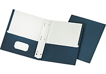 Staples School Grade 2 Pocket Folder with Fasteners, Navy, 25/Box (50780/27547-CC)