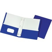 Staples® School Grade 2 Pocket Folder with Fasteners, Blue, 25/Box