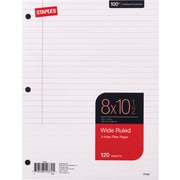 "Staples Wide Ruled Filler Paper, 8"" x 10-1/2"", 120/Pack (37426M)"