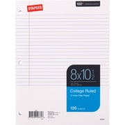 "Staples&reg College Ruled Filler Paper, 8"" x 10-1/2"", 120/Pack (37427M)"