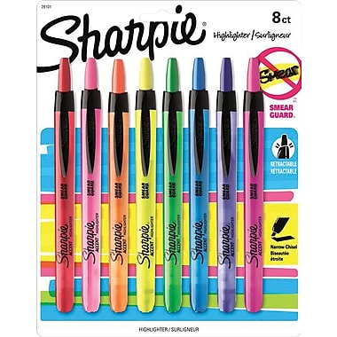 Sharpie® Retractable Highlighters, Assorted, 8/Pack