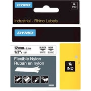 "DYMO® Rhino Label Tape, 12mm (1/2"") Black on White Nylon"