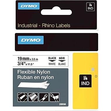 DYMO® - Ruban d'étiquettes Rhino, 19 mm (3/4 po), nylon, noir sur blanc