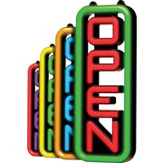 "Green Light Innovations Spectrum Vertical Open Sign, 7"" x 18"""
