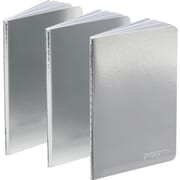 Poppin Metallic Silver Soft Cover Mini Notebooks Set of 3