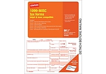 Staples® 2014 Tax Forms, 1099 Misc Inkjet Laser Form, 50/Pack