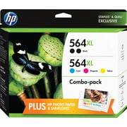 HP 564XL High Yield Black and C/M/Y Color Ink Cartridges, CVP Value Combo, 5/Pack (F6V09FN#140)