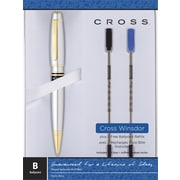 Cross Windsor Ballpoint Pen, Medium 0.7mm, Chrome Barrel, Black, Each