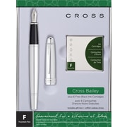 Cross Bailey Fountain Pen, Medium Point 0.85mm, Chrome Barrel, Black, Each