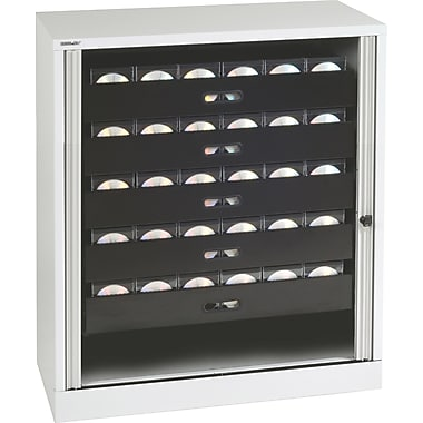 Bisley® 40in. Multimedia Tambour Cabinet, Light Gray