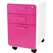 Poppin White + Pink Stow File Cabinet, Rolling, 3-Drawer, Letter/Legal Size