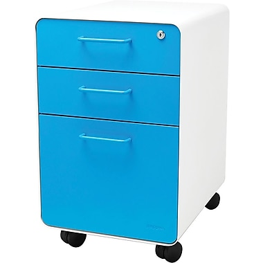 Poppin, Stow File Cabinet, Rolling 3-Drawer, White + Pool Blue (100919)