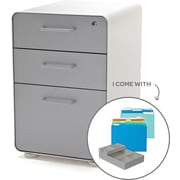 Poppin Stow File Cabinet Fully Loaded 3-Drawer, White + Light Gray (101248)