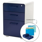 Poppin Stow File Cabinet Fully Loaded 3-Drawer, White + Navy (101249)
