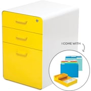 Poppin Stow File Cabinet Fully Loaded 3-Drawer, White + Yellow (100846)