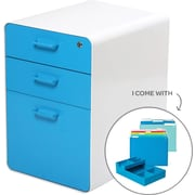 Poppin White + Pool Blue Stow File Cabinet, Fully Loaded, 3-Drawer, Letter/Legal Size