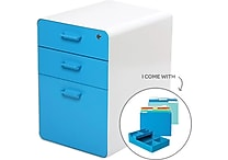 Poppin Stow File Cabinet Fully Loaded 3-Drawer, White + Pool Blue (100844)