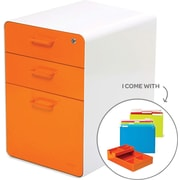 Poppin White + Orange Stow File Cabinet, Fully Loaded, 3-Drawer, Letter/Legal Size