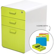 Poppin White + Lime Green Stow File Cabinet, Fully Loaded, 3-Drawer, Letter/Legal Size