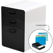 Poppin Stow File Cabinet Fully Loaded 3-Drawer, White + Black (100840)