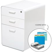 Poppin Stow File Cabinet Fully Loaded 3-Drawer, White (100839)