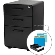Poppin West 18th File Cabinet, Fully Loaded, 3-Drawer, Letter/Legal Size, Black