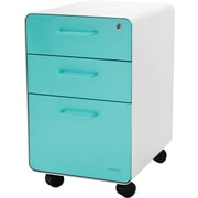 Poppin White + Aqua Stow File Cabinet, Rolling, 3-Drawer, Letter/Legal Size