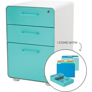 Poppin White + Aqua Stow File Cabinet, Fully Loaded, 3-Drawer, Letter/Legal Size