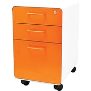 Poppin White + Orange Stow File Cabinet, Rolling, 3-Drawer, Letter/Legal Size