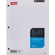 "Staples College Ruled Filler Paper, 8 1/2"" x 11"", 400/Pack (27521M)"