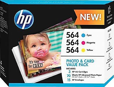 HP 564 Color C M Y Ink Cartridges w Photo and Card Value Kit J2X80AN 140 Combo 3 Pack