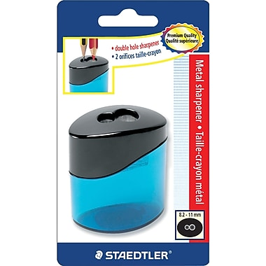 Staedtler® Premium-Quality Double-Hole Oval Metal Pencil Sharpener, Assorted Colours
