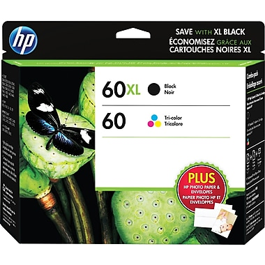 HP 60XL Black High Yield & 60 Tri-Colour Original Ink Cartridges, 2/Pack (N9H59FN)