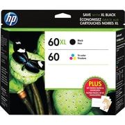 HP 60XL High Yield Black & 60 Tri-Color Original Ink Cartridges, 2/Pack (N9H59FN)