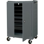Mobile Laptop Security Cabinet, 36W Charcoal Paint