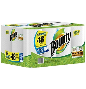 Bounty® Select-A-Size Giant Roll Paper Towels, 2-Ply, 105 Sheets/Roll, 12 Rolls/Case (88212/81440)