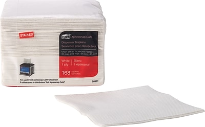 Staples Tork Xpressnap Cafe Napkin 1 ply White 168 pack