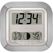La Crosse Technology WS-8418AL-IT Digital Atomic Wall Clock with Moon Phase - Aluminum