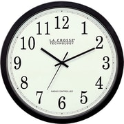 La Crosse Technology WT-3143A 14 Inch Atomic Analog Wall Clock - Black