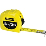 Stanley® Polymer Coated Single Side Measuring Tape, 26 ft (L) x 1 in (W) Blade, Inch/Metric
