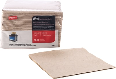 Staples Tork Xpressnap Cafe Napkin 1 ply Natural 168 pack