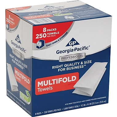 GP Georgia-Pacific Professional Series™ M-Fold Paper Towels, 1-Ply, White, Convenient Size, 8 Packs/Case