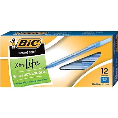 BIC® Round Stic® Ballpoint Pens, Medium Point, Blue, Dozen