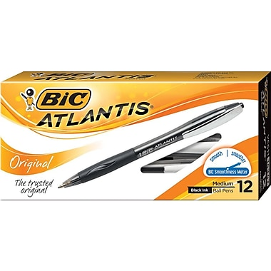 BIC Atlantis® Retractable Ballpoint Pens, Medium Point, Black, Dozen