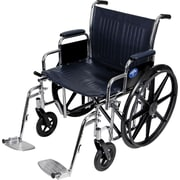 "Medline Excel Extra-wide Wheelchair, 22"" W x 18"" D Seat, Removable Desk Length Arm, Swing Away Leg"