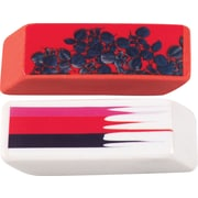 Cynthia Rowley Wedge Eraser, Stripe and Red with Blue Leaves, 2/Pack (26896)