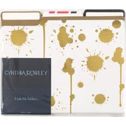 Cynthia Rowley File Folders, 3 Tab, 6/pack, Assorted Gold
