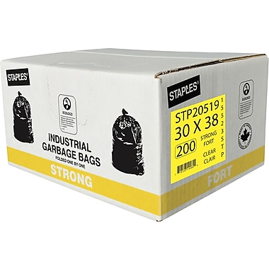 Staples Garbage Bags, Strong, Clear, 30
