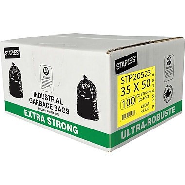 Staples Garbage Bags, Extra Strong, Clear, 35